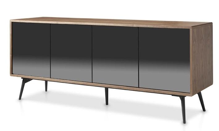 enfilade bois noyer et verre miroir noir loza. Black Bedroom Furniture Sets. Home Design Ideas
