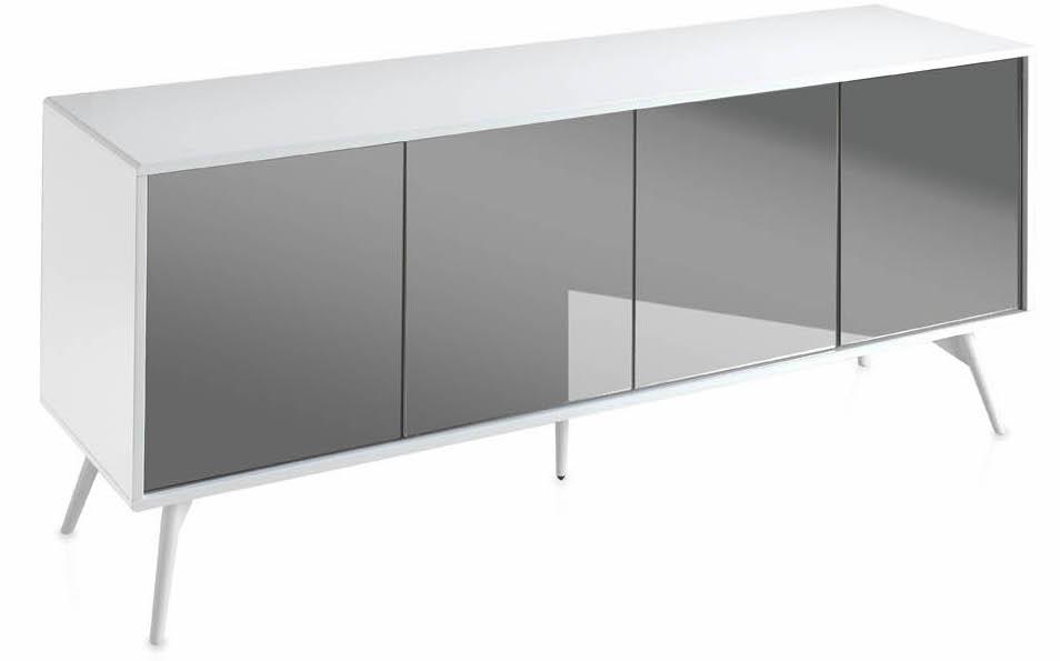 enfilade laqu e blanc et verre miroir teint gris loza. Black Bedroom Furniture Sets. Home Design Ideas