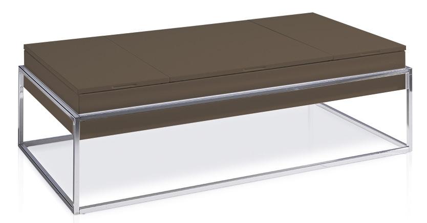 table basse relevable laqu e marron pied acier chrom venusa. Black Bedroom Furniture Sets. Home Design Ideas