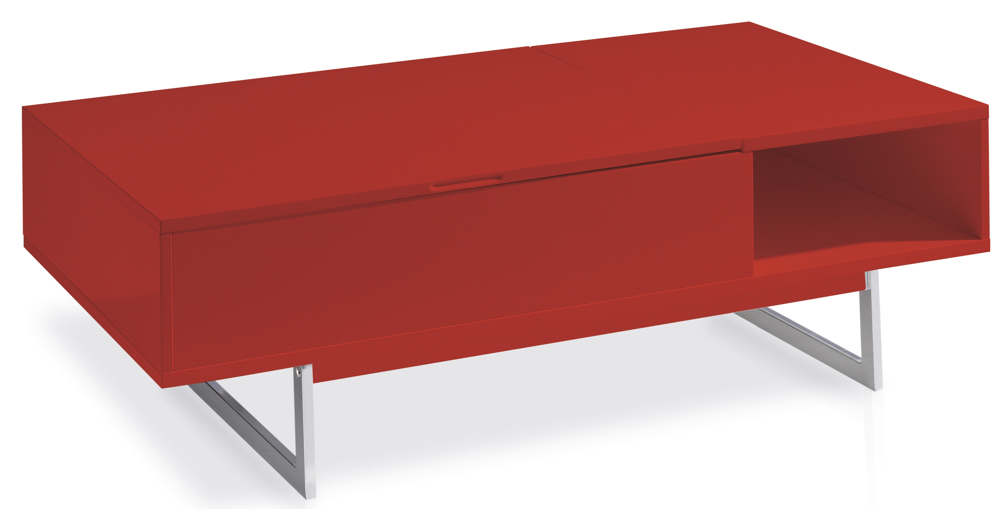 Table basse laquee rouge for Table basse rouge