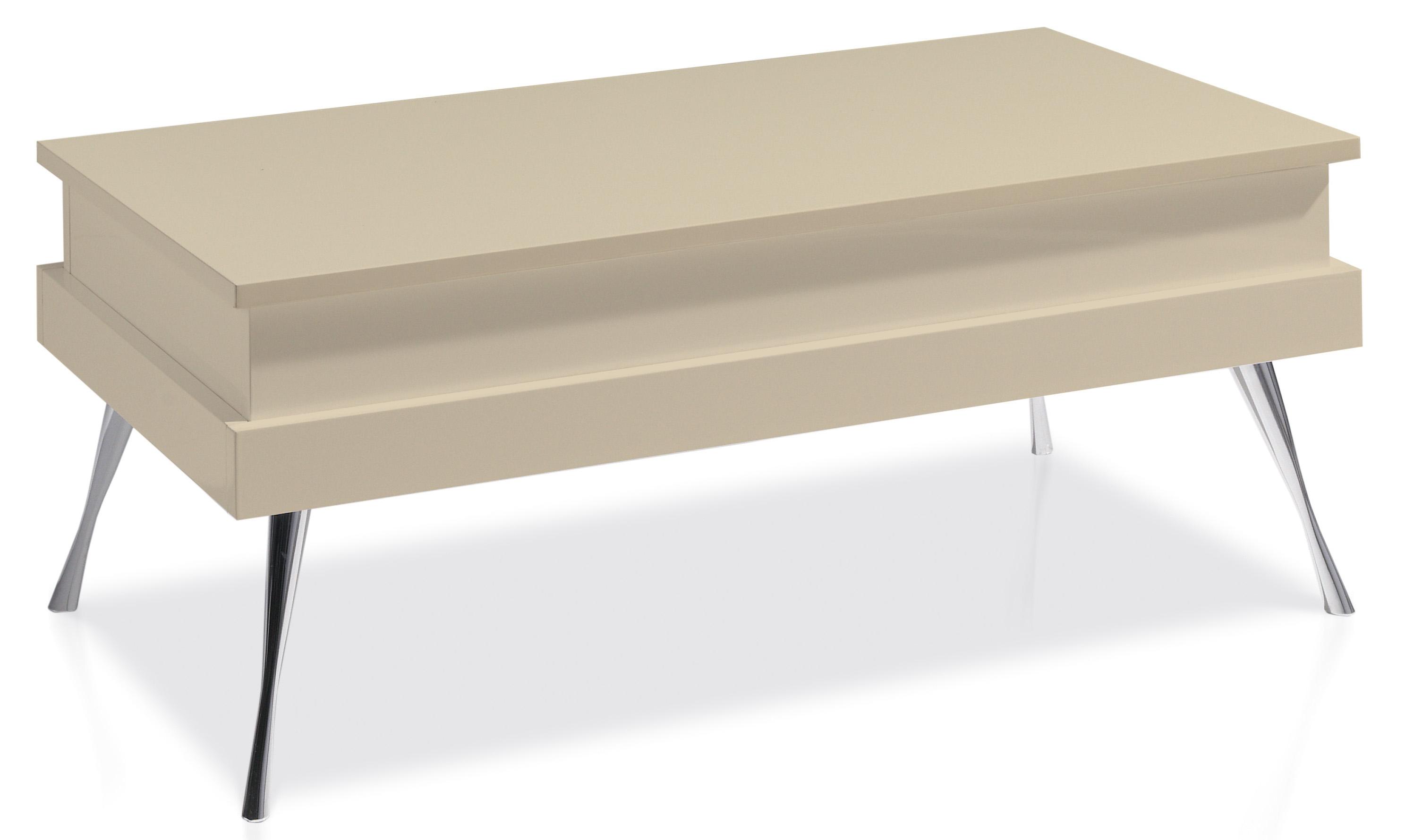 table basse relevable laqu e cr me pied acier chrom. Black Bedroom Furniture Sets. Home Design Ideas