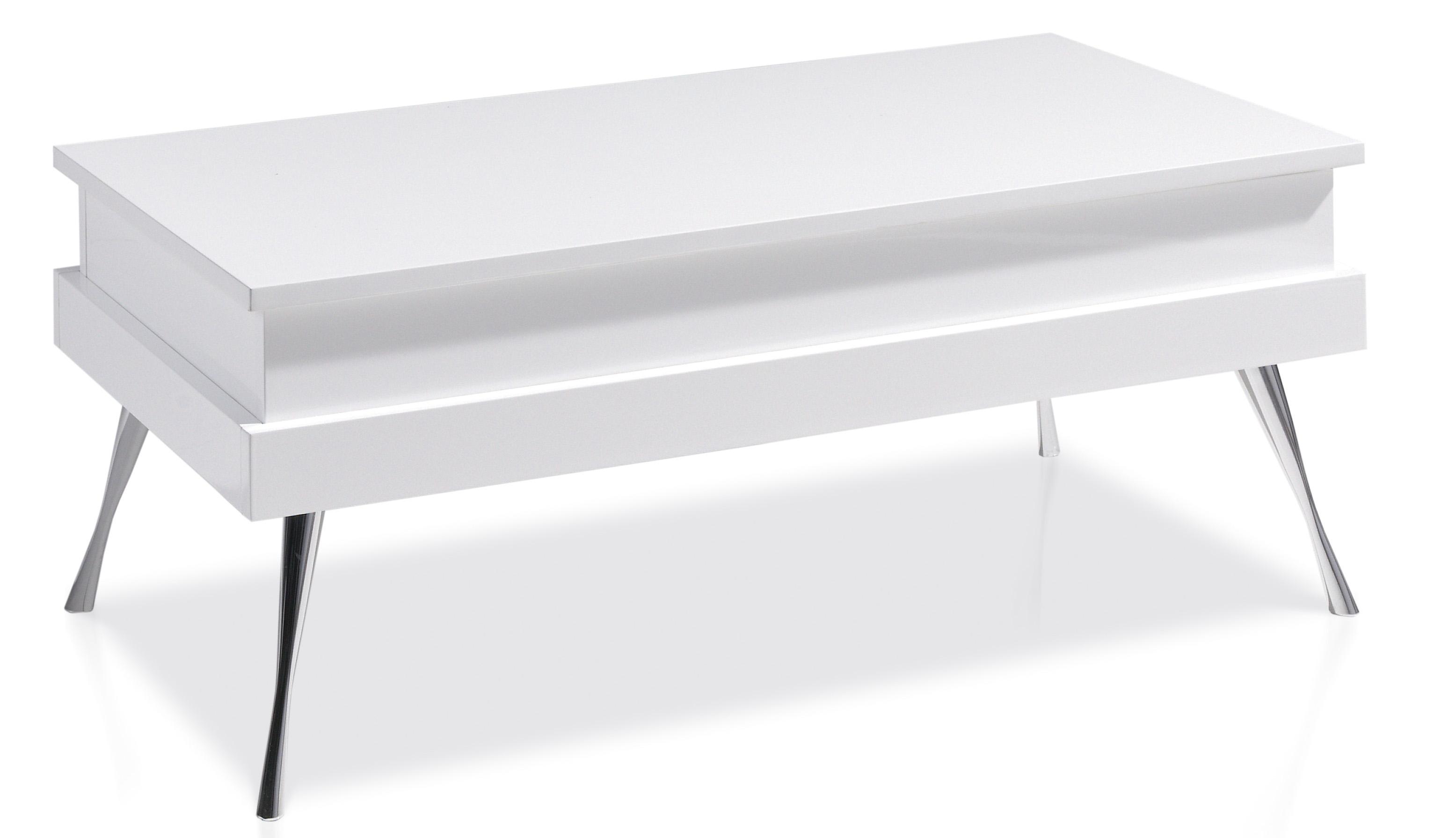 table basse relevable laqu e blanc pied acier chrom simpla. Black Bedroom Furniture Sets. Home Design Ideas