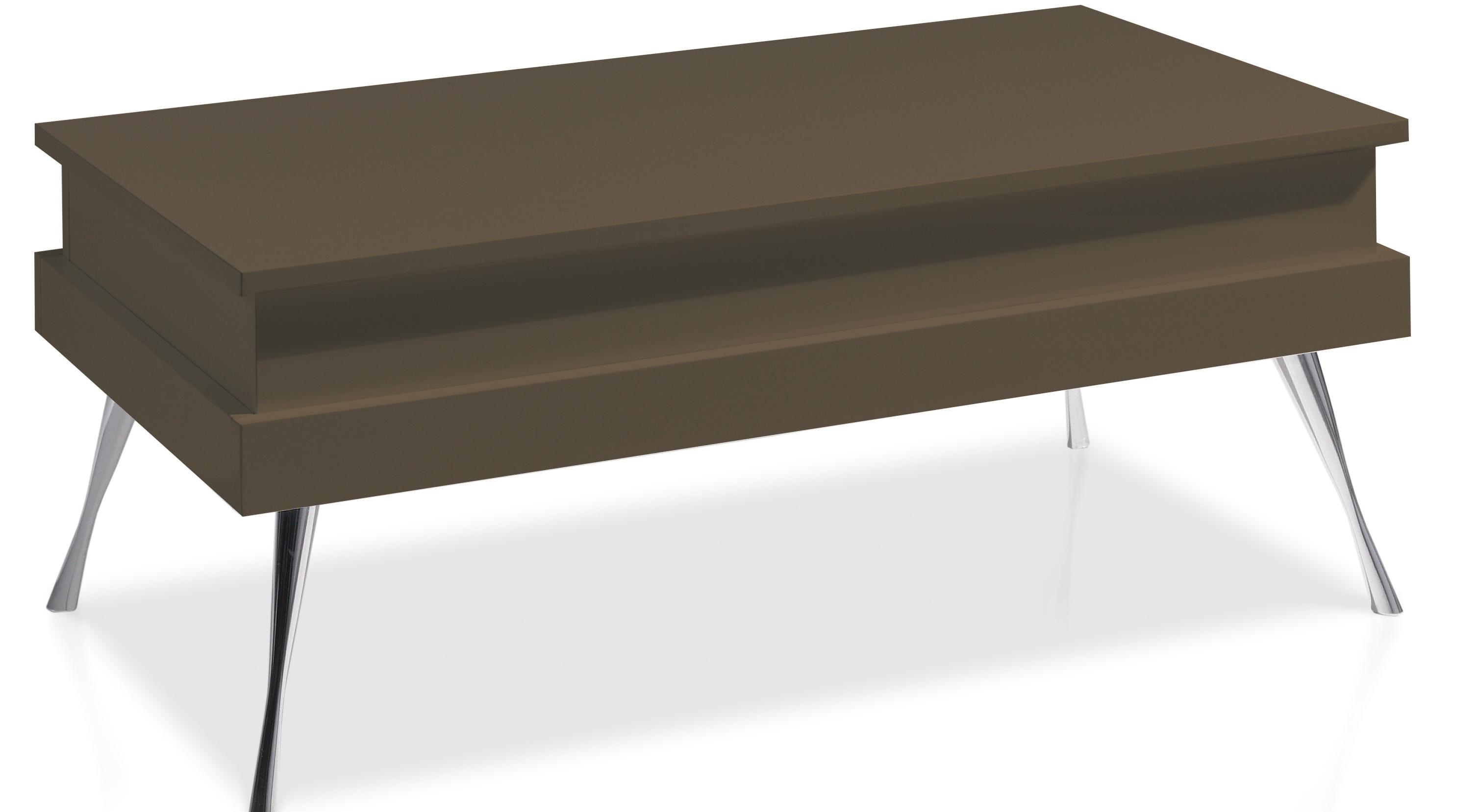 Table basse relevable laqu e marron pied acier chrom - Table basse marron ...