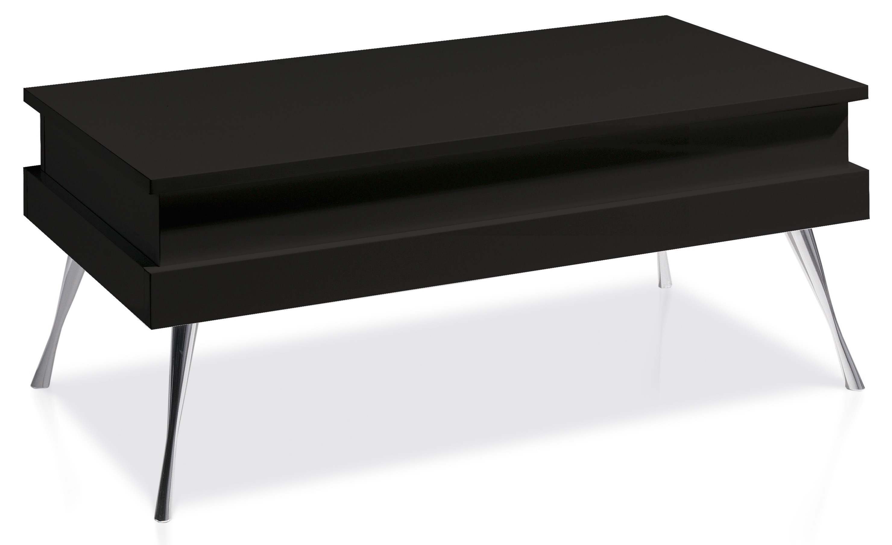table basse relevable laqu e noir pied acier chrom simpla. Black Bedroom Furniture Sets. Home Design Ideas