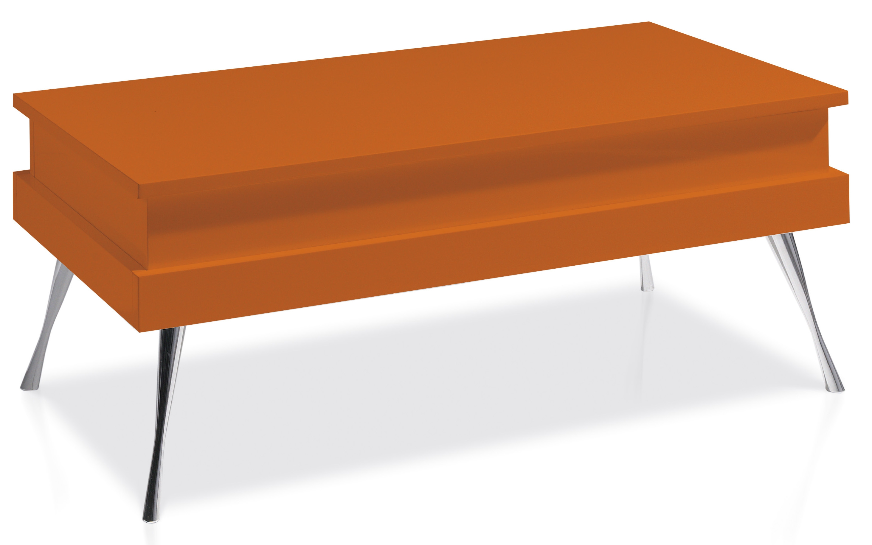 Table basse relevable laqu e orange pied acier chrom for Table basse orange