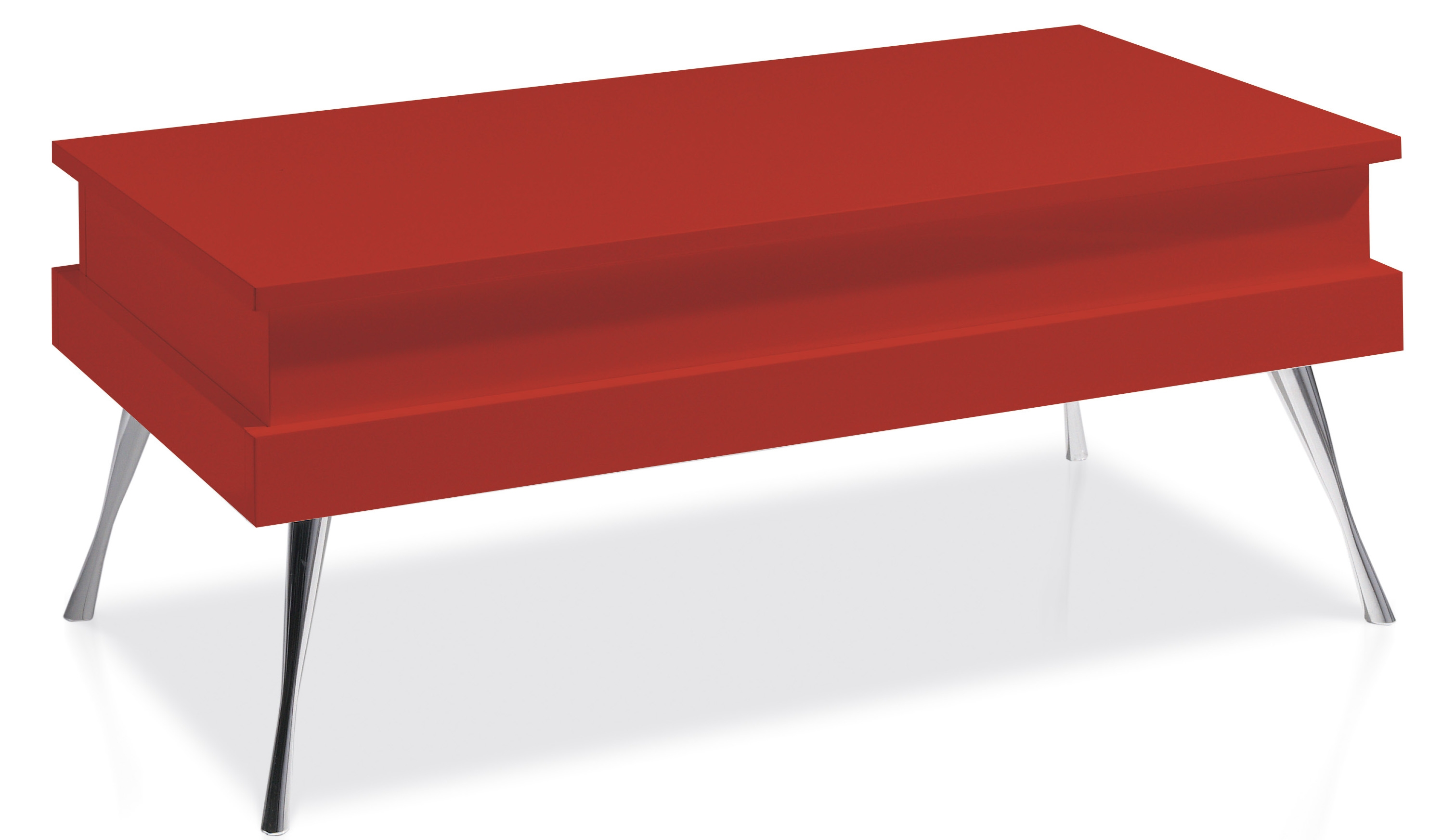 Table basse relevable laqu e rouge pied acier chrom for Table basse rouge
