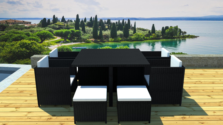 Salon de jardin 4 fauteuils encastrable r sine gris patras - Salon de jardin en resine couleur gris ...