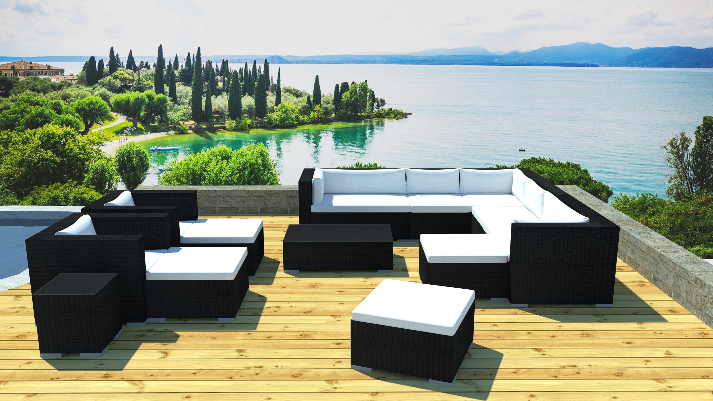 salon de jardin 1 canap r sine noir kavala. Black Bedroom Furniture Sets. Home Design Ideas
