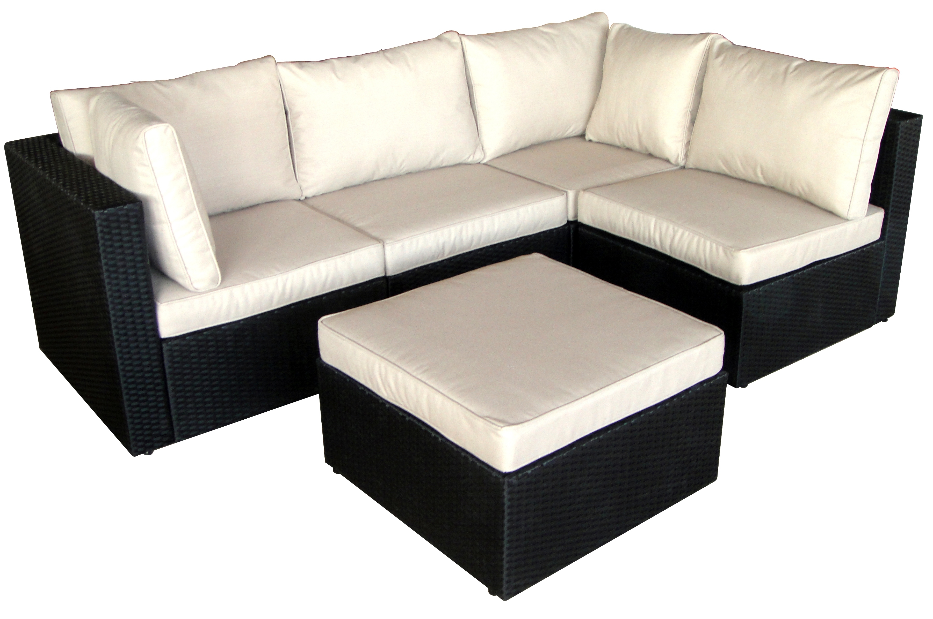 salon de jardin 5 places modulable coussin cru r sine noir lamia. Black Bedroom Furniture Sets. Home Design Ideas