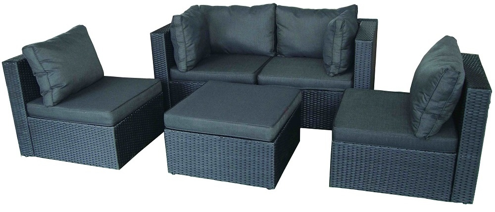 salon de jardin 5 places modulable coussin noirs r sine noir lamia. Black Bedroom Furniture Sets. Home Design Ideas