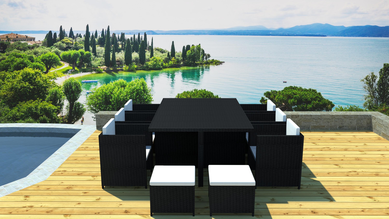 Salon de jardin 6 fauteuils encastrable Résine gris Volos ...