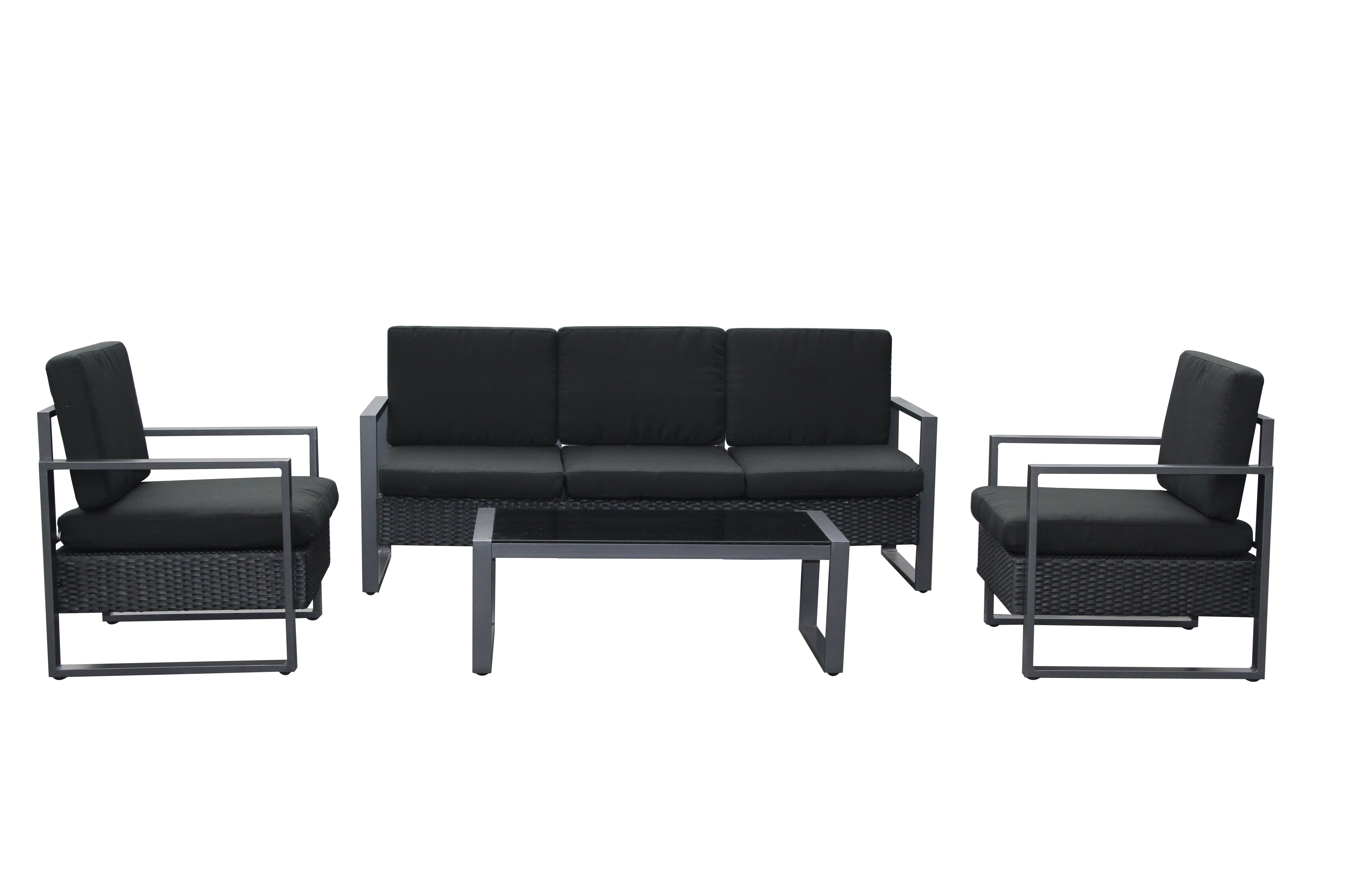 salon de jardin 1 canap r sine et alu noir coussins noir drama. Black Bedroom Furniture Sets. Home Design Ideas