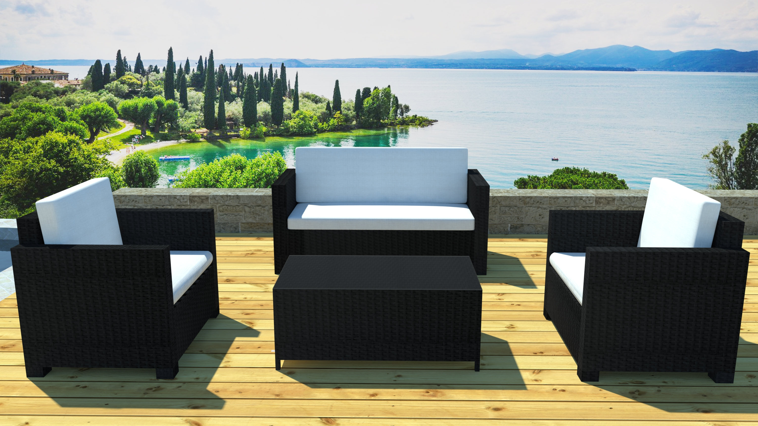salon de jardin 2 fauteuils r sine noir lagos. Black Bedroom Furniture Sets. Home Design Ideas
