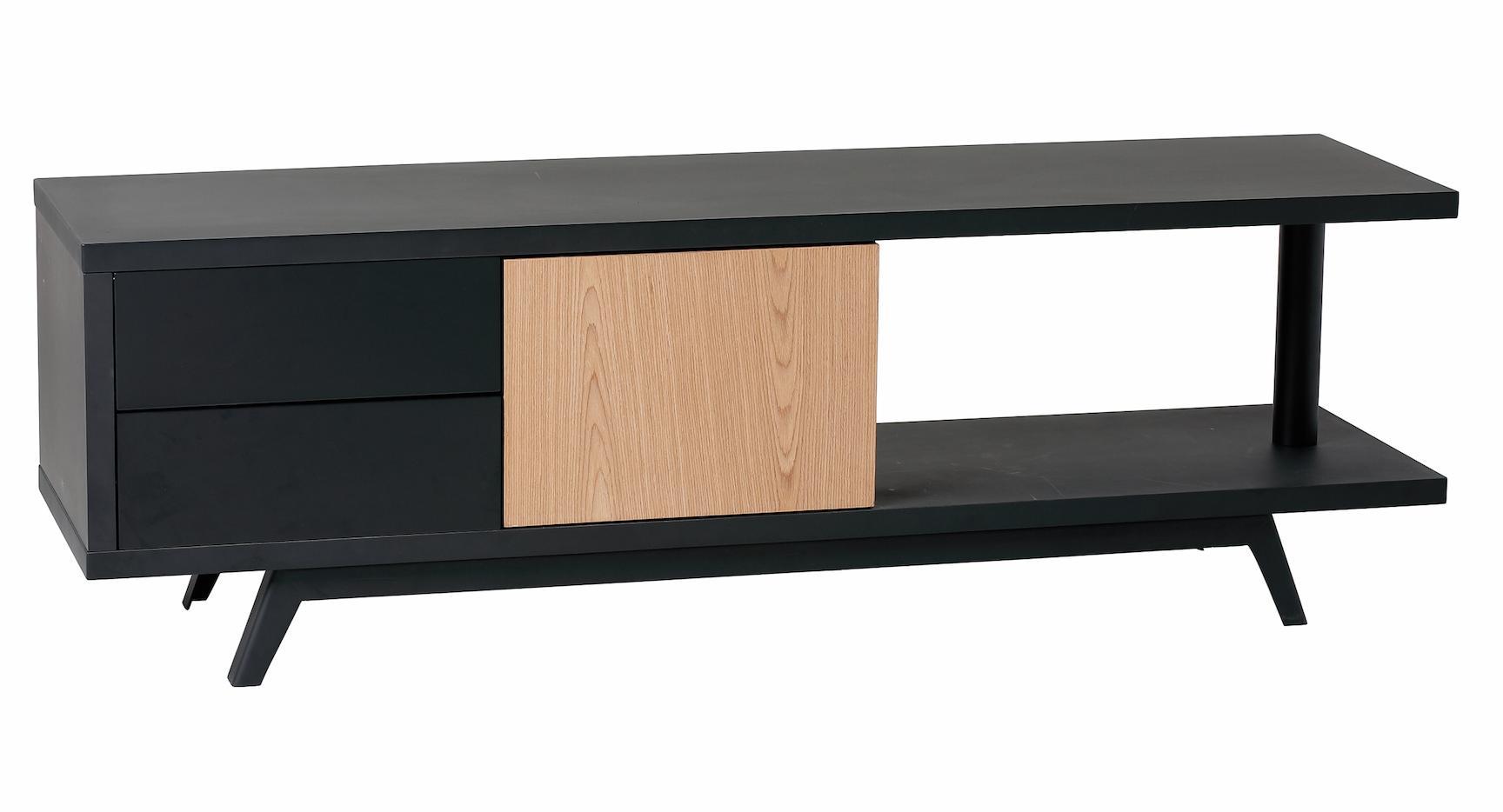 meuble tv ch ne et gris fonc laqu spare. Black Bedroom Furniture Sets. Home Design Ideas