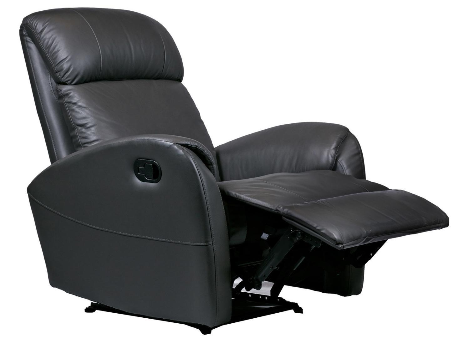 fauteuil de relaxation manuel cuir gris balbo. Black Bedroom Furniture Sets. Home Design Ideas
