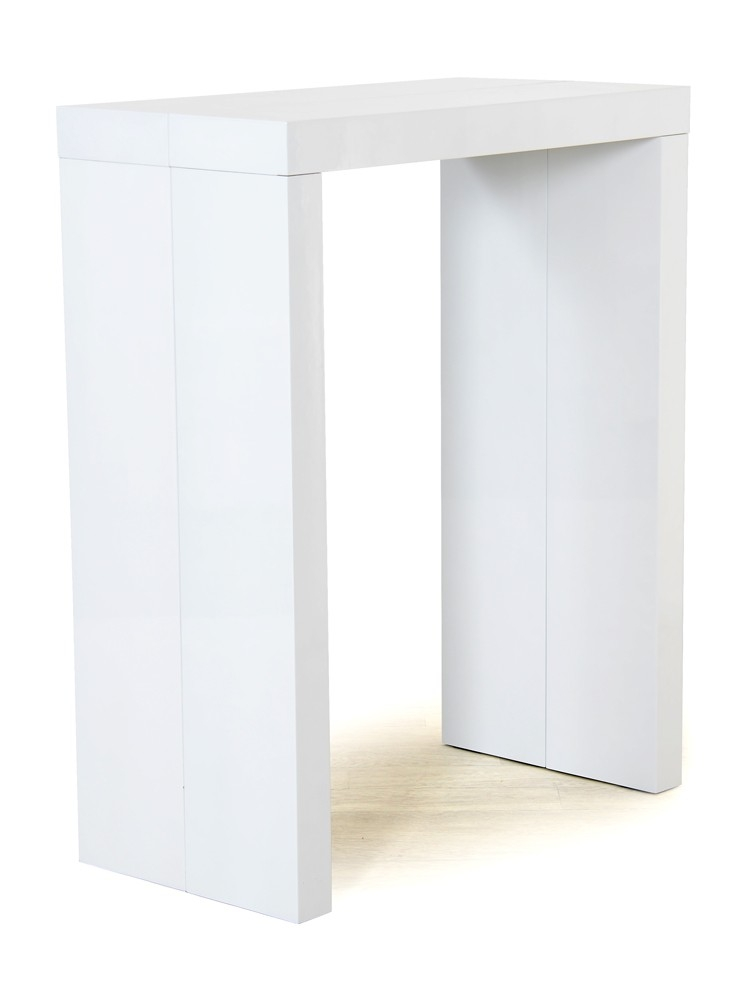 Mange debout blanc extensible avec 2 allonges algo bar for Meuble bar mange debout