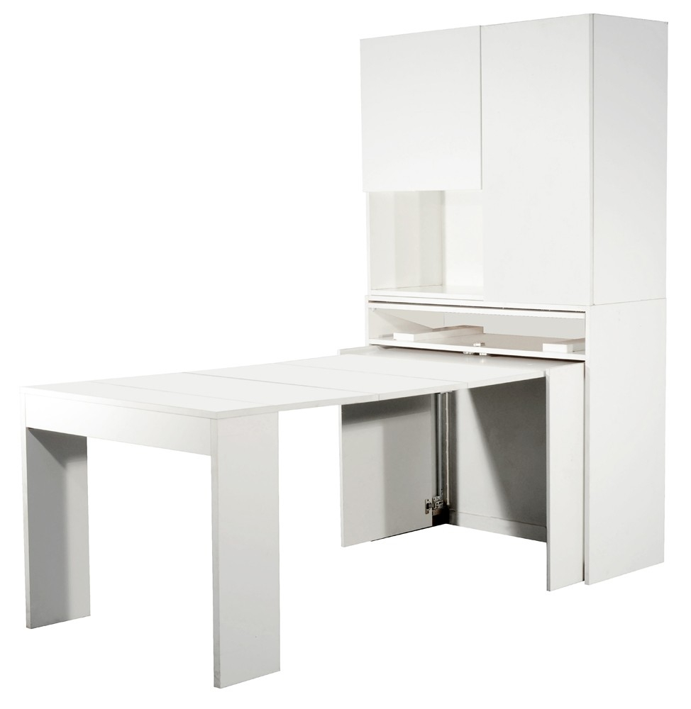 Console extensible blanche avec rangements mingo for Table extensible avec rallonges integrees