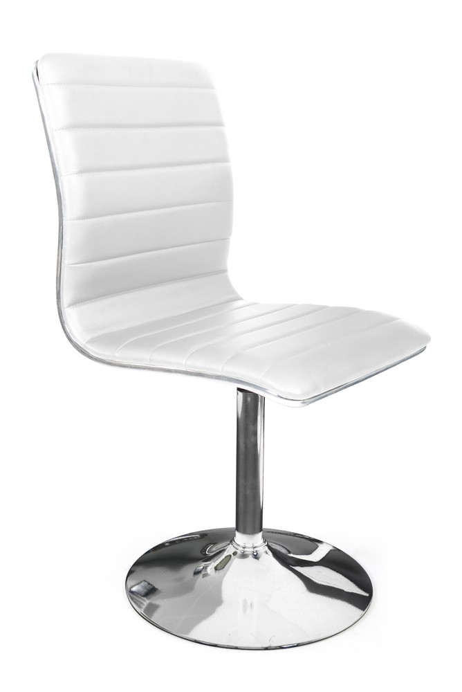 chaise pivotante pied chrom assise blanche