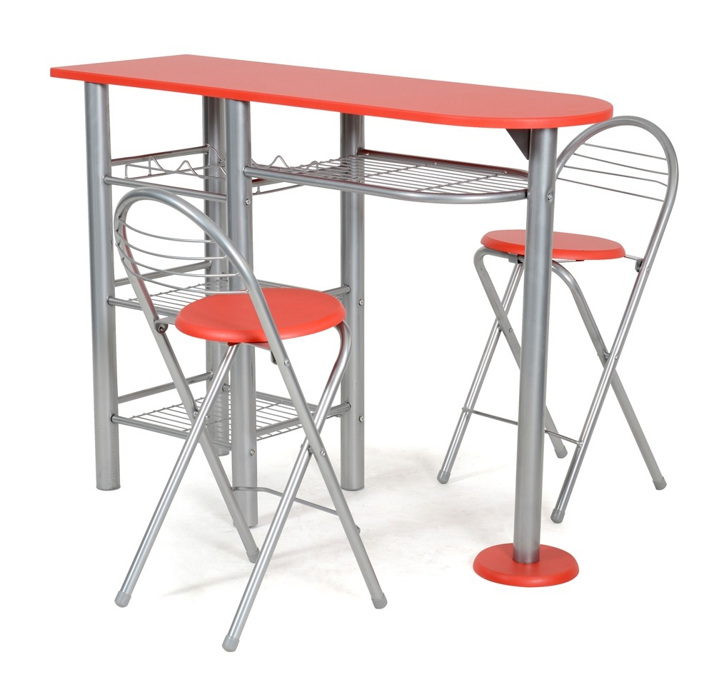 Table de bar et 2 chaise rouge alma for Table cuisine 2 chaises