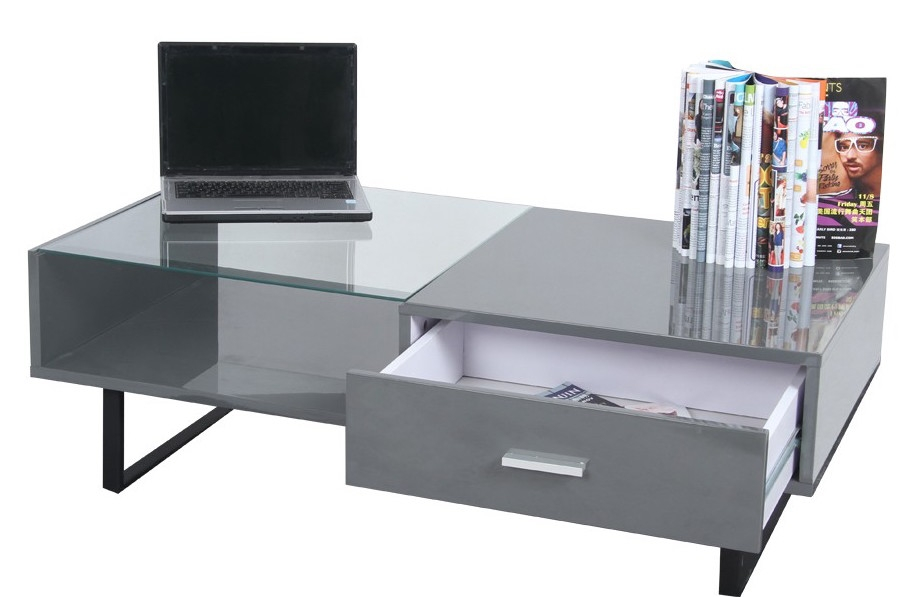 Table basse grise beton - Table basse laquee grise ...