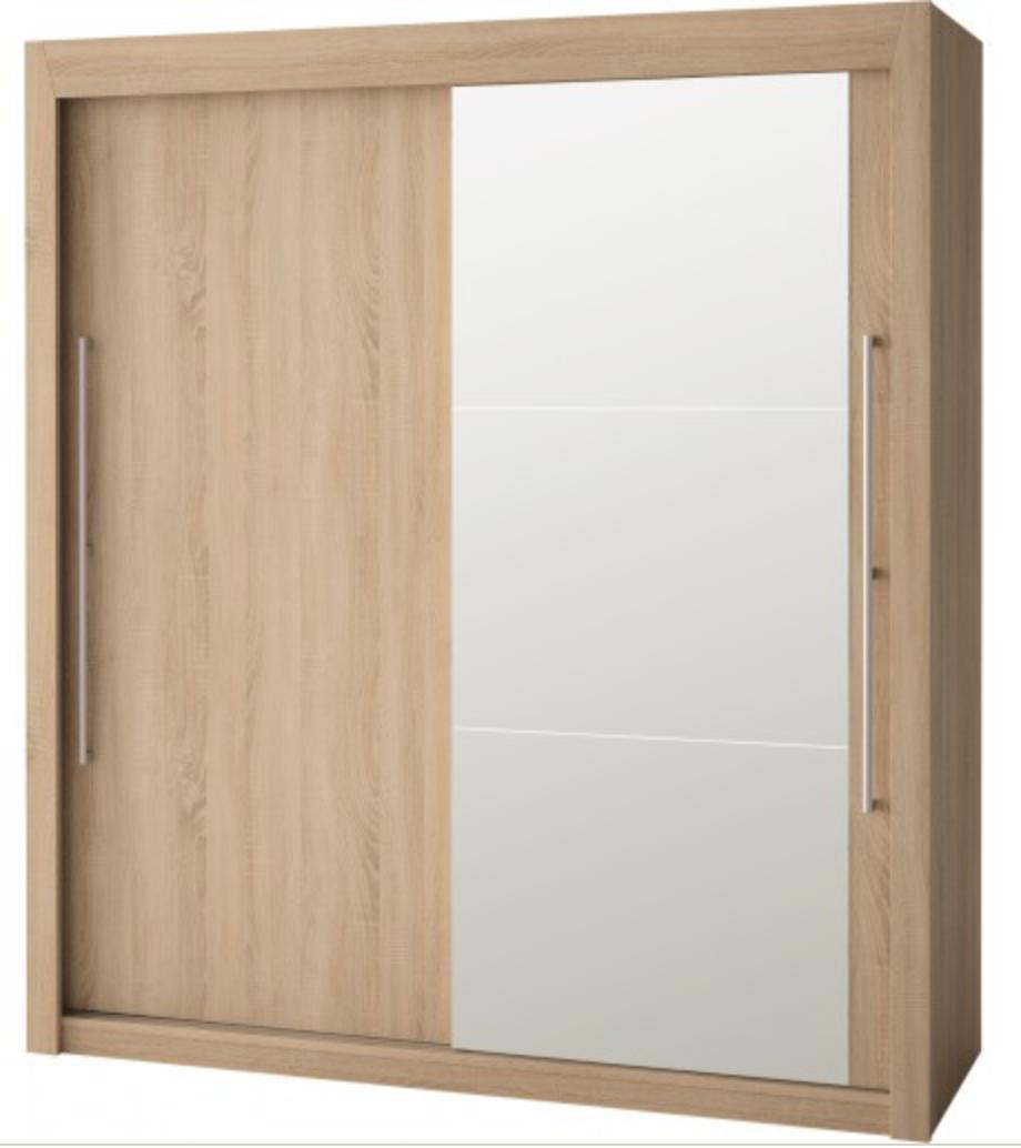 armoire 1 porte miroir 1 porte bois ch ne clair franka 180 hauteur 201 cm. Black Bedroom Furniture Sets. Home Design Ideas