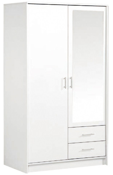 armoire 2 portes 1 miroir 2 tiroirs blanche tifany. Black Bedroom Furniture Sets. Home Design Ideas