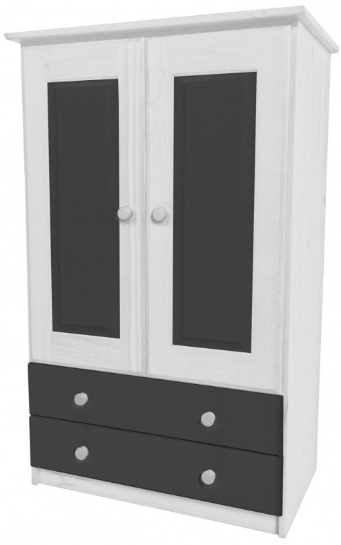 armoire 2 portes 2 tiroirs pin massif blanc lasur et gris aladin. Black Bedroom Furniture Sets. Home Design Ideas