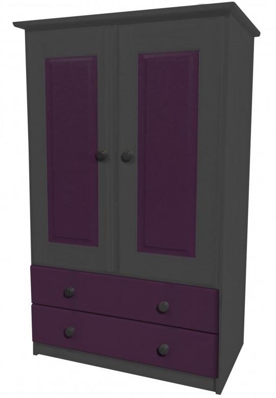 armoire 2 portes 2 tiroirs pin gris et lilas aladin