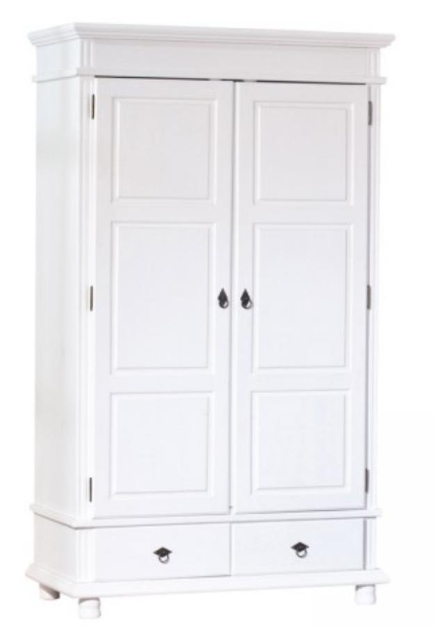 armoire 2 portes 2 tiroirs pin massif blanche micha. Black Bedroom Furniture Sets. Home Design Ideas