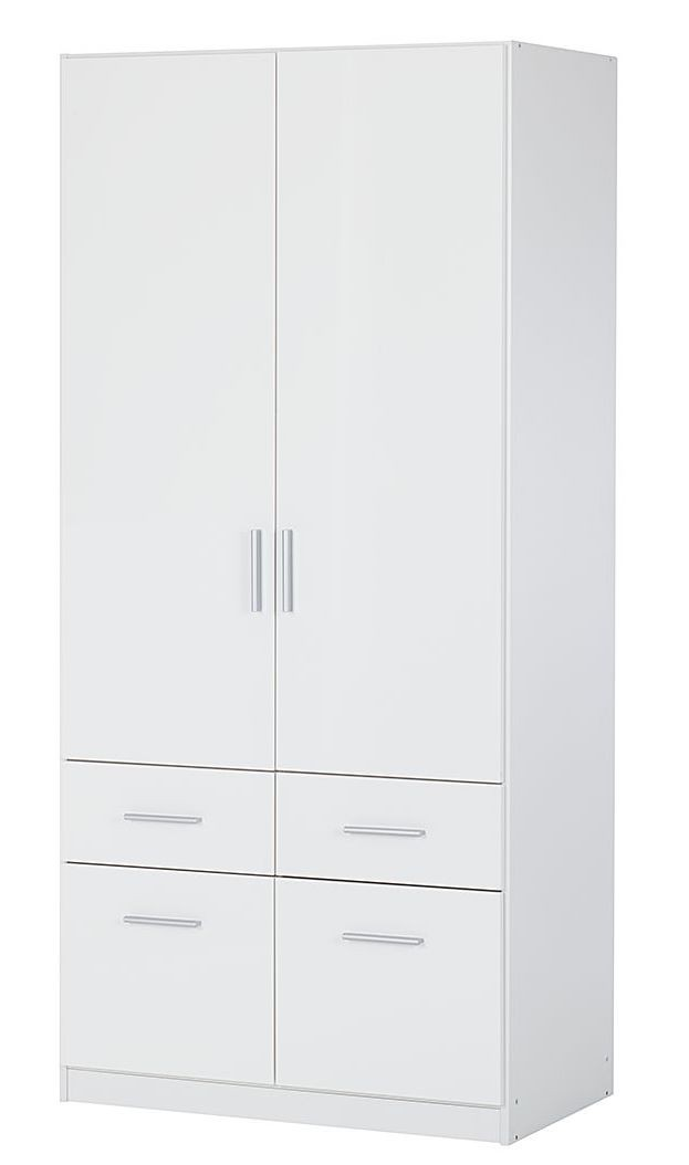 armoire 2 portes battante 4 tiroirs blanc brillant bello. Black Bedroom Furniture Sets. Home Design Ideas