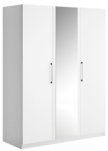 Armoire 2 portes battantes blanc laqu mat 1 porte miroir - Penderie blanc laque ...