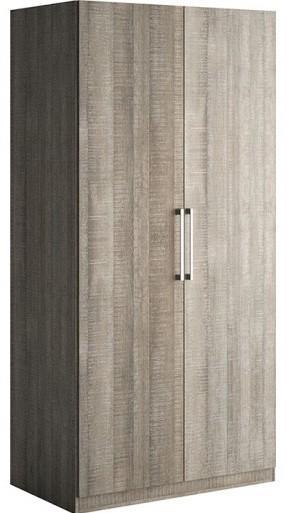 armoire 2 portes battantes ch ne gris little. Black Bedroom Furniture Sets. Home Design Ideas