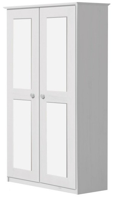 armoire 2 portes pin massif blanc lasur maximus. Black Bedroom Furniture Sets. Home Design Ideas