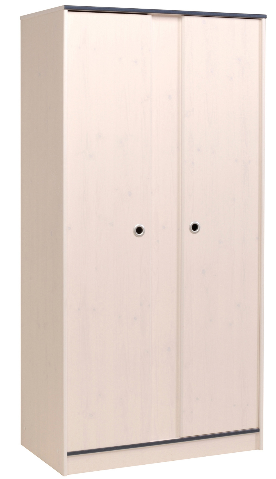 armoire 2 portes bois blanc et bleu suzy. Black Bedroom Furniture Sets. Home Design Ideas