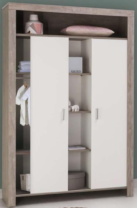 armoire 2 portes bois driftwood blanc et naturel switch. Black Bedroom Furniture Sets. Home Design Ideas