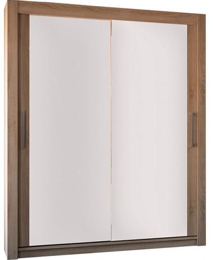 armoire 2 portes coulissantes ch ne clair et miroir little 120. Black Bedroom Furniture Sets. Home Design Ideas