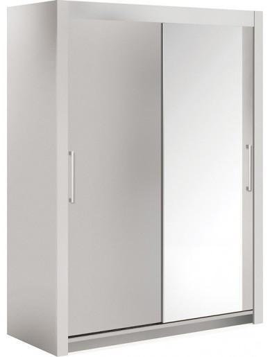 armoire 2 portes coulissantes 1 blanc laqu mat 1 miroir. Black Bedroom Furniture Sets. Home Design Ideas