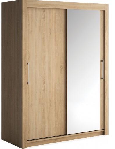 armoire 2 portes coulissantes 1 bois ch ne clair 1 miroir little 120. Black Bedroom Furniture Sets. Home Design Ideas
