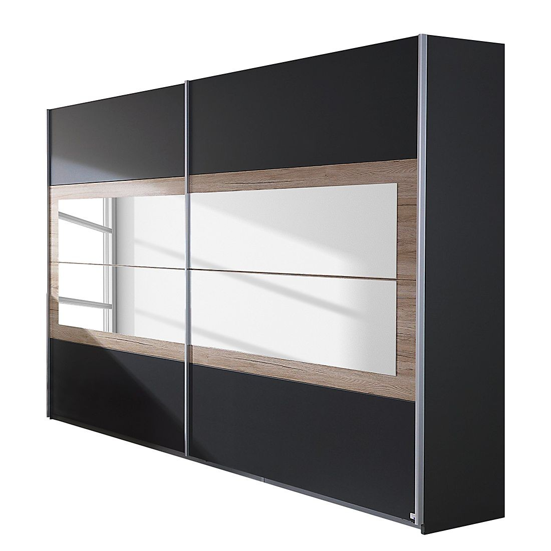 armoire 2 portes coulissantes 226 gris m tallique et ch ne de sanremo tolga. Black Bedroom Furniture Sets. Home Design Ideas