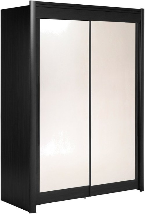 armoire 2 portes coulissantes avec miroir noir caleb 160 cm. Black Bedroom Furniture Sets. Home Design Ideas