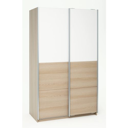 armoire 2 portes coulissantes blanc pin naturel venca. Black Bedroom Furniture Sets. Home Design Ideas