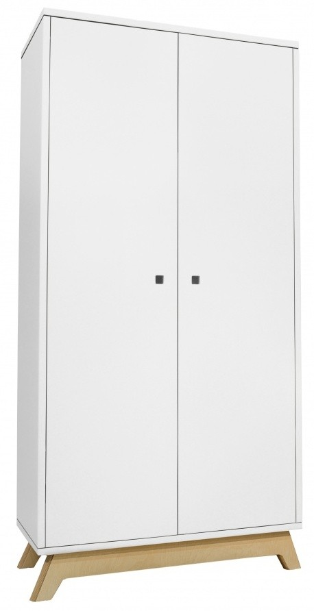 Armoire 2 portes laqu e blanc et pieds naturel madavin Porte laquee blanc