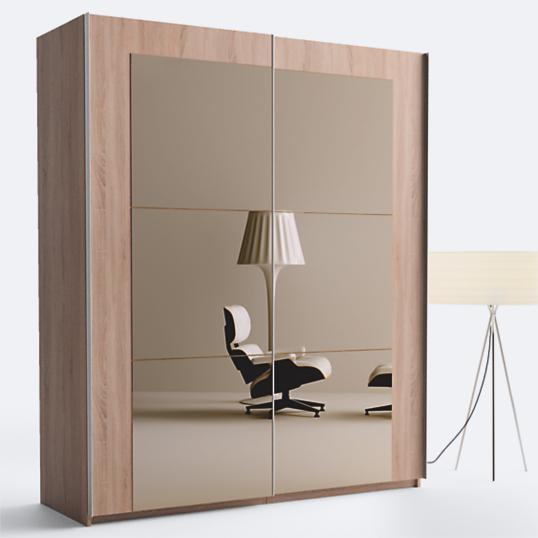 armoire 2 portes miroirs ch ne taupe hana 180 hauteur 220 cm. Black Bedroom Furniture Sets. Home Design Ideas