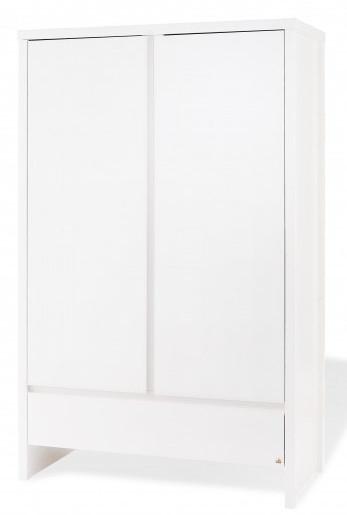 Armoire 2 portes pin massif blanc aura pinolino 141636 - Armoire pin massif blanc ...