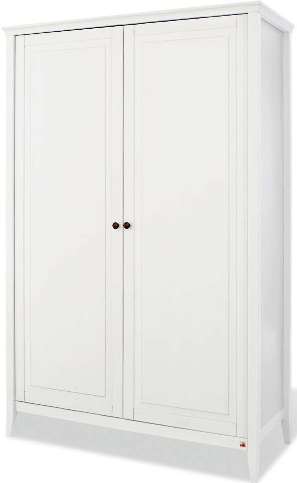 armoire 2 portes pin massif blanc smilla. Black Bedroom Furniture Sets. Home Design Ideas
