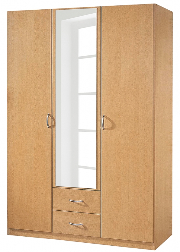 armoire 3 portes 2 tiroirs avec tag res h tre kadra 3. Black Bedroom Furniture Sets. Home Design Ideas