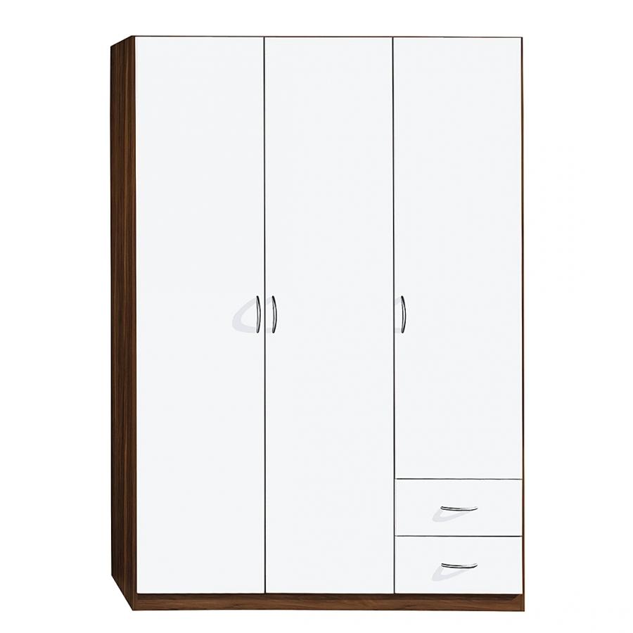 Armoire 3 portes 2 tiroirs blanc et noyer kadra 2 - Armoire 2 portes 3 tiroirs ...
