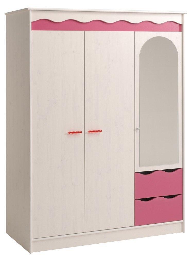 armoire 3 portes 2 tiroirs blanc et rose lola. Black Bedroom Furniture Sets. Home Design Ideas