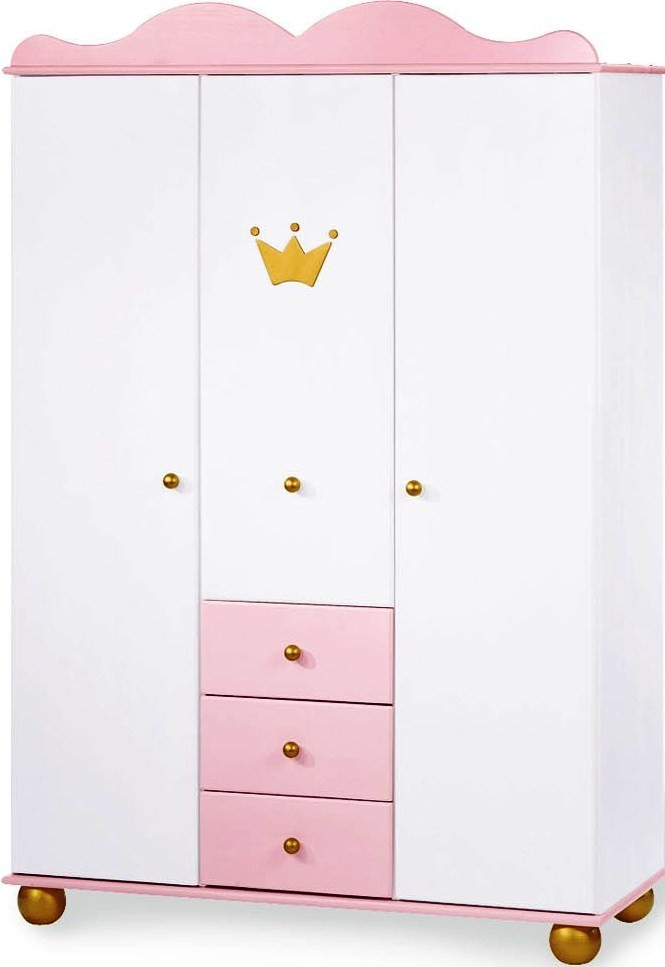 armoire 3 portes 3 tiroirs pin massif blanc et rose. Black Bedroom Furniture Sets. Home Design Ideas