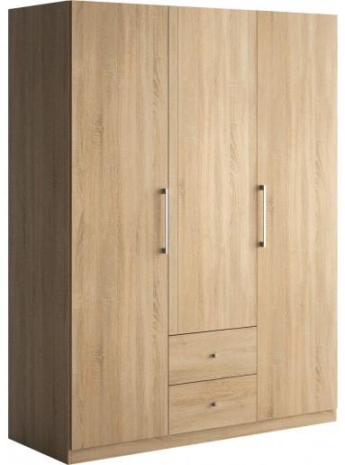 armoire 3 portes battantes 2 tiroirs ch ne clair little. Black Bedroom Furniture Sets. Home Design Ideas